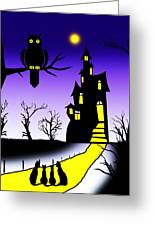 An Owl Some Cats And A Spooky House Greeting Card