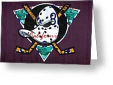 Anaheim Ducks Hockey Team Retro Logo Vintage Recycled California License Plate Art Greeting Card