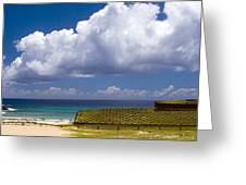 Anakena Beach With Ahu Nau Nau Moai Statues On Easter Island Greeting Card