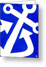 Anchor- Bright Blue Greeting Card