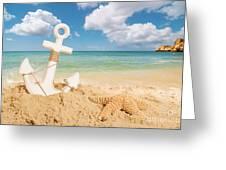 Anchor On The Beach Greeting Card