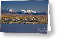 Anchorage Skyline And The Chugach Greeting Card