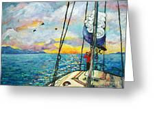 Anchored At Sunset Greeting Card