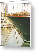 Anchored Yacht In Antibes Harbor Greeting Card