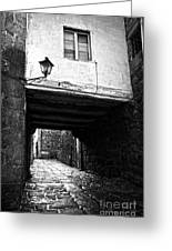 Ancient Alley In Tui Bw Greeting Card