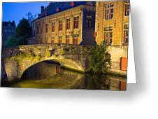 Ancient Bridge In Bruges  Greeting Card