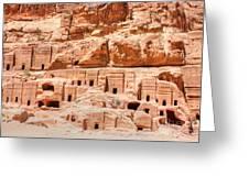 Ancient Dwellings At Petra Greeting Card