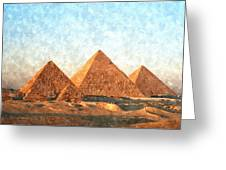 Ancient Egypt The Pyramids At Giza Greeting Card