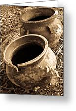 Ancient Pottery In Sepia Greeting Card