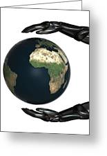 Android Hands Keep Earth Globe Safe On White Background Greeting Card