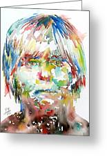 Andy Warhol Watercolor Portrait Greeting Card