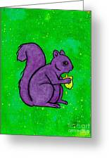 Andy's Squirrel Purple Greeting Card