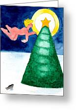 Angel And Christmas Tree Greeting Card