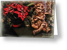 Angel And Poinsettia Greeting Card