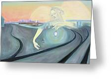 Angel Bringing Light To Meditating Woman At The Train Tracks Greeting Card