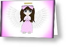 Angel In Pink Greeting Card by Eva Thomas