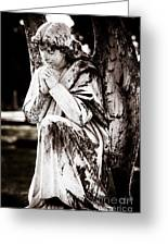 Angel In Prayer Greeting Card by Sonja Quintero