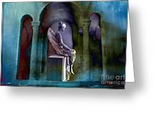 Angel Mourning Sadness - Haunting Fantasy Surreal Angel Art Teal Aqua Purple  Greeting Card