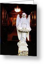 Angel Statue Offers Holy Water Greeting Card
