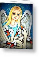 Angel Sheltering Seven Swans Greeting Card