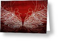 Angel Wings Crimson Greeting Card
