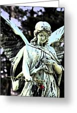 Angel With A Red Rose Greeting Card