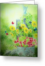 Angel With Butterflies And Sunflowers Greeting Card