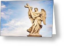Angel With The Cross In Ponte St Angelo  Greeting Card