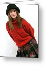 Angela Plaid Skirt Greeting Card