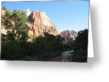 Angels Landing And Virgin River - Zion Np Greeting Card
