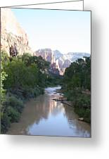 Angels Landing - Virgin River - Zion Np Greeting Card