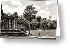 Angkor Wat Bw II Greeting Card