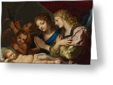 Angles Adoring The Sleeping Christ Greeting Card