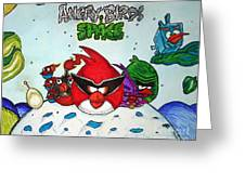 Angry Bird Space Greeting Card by Julie Farnsworth