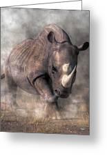 Angry Rhino Greeting Card