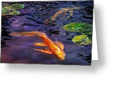 Animal - Fish - There's Something About Koi  Greeting Card by Mike Savad