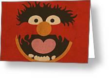Animal Muppet Vintage Minimalistic Illustration On Worn Distressed Canvas Series No 008 Greeting Card