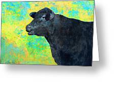 Animals Cow Black Angus  Greeting Card by Ann Powell