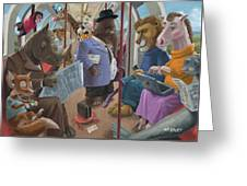 Animals On A Tube Train Subway Commute To Work Greeting Card