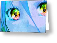Anime Girl Eyes Blue Greeting Card