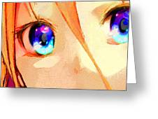 Anime Girl Eyes Gold Greeting Card