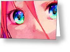 Anime Girl Eyes Red Greeting Card