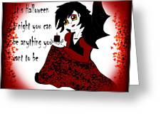 Anime Little Girl Vampire Greeting Card by Eva Thomas