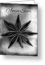Anise Star Single Text Distressed Black And Wite Greeting Card