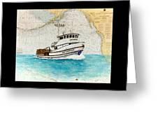 Ann Kathleen Crab Fishing Boat Nautical Chart Map Art Greeting Card