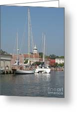 Annapolis Harbor Alongside Dock Street Greeting Card