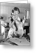 Anne Shirley And Her Turkey Greeting Card by Underwood Archives