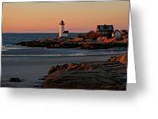 Annisquam Lighthouse At Sunset Greeting Card