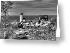 Annisquam Lighthouse Black And White Greeting Card