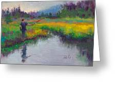 Another Cast - Fishing In Alaskan Stream Greeting Card